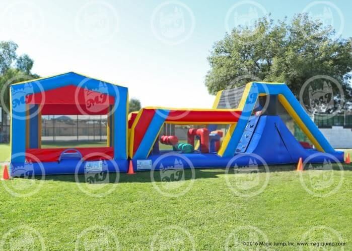 Fun Course Combo interactive inflatable obstacle course with slide