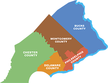 map of beanie bounce service area, including bucks county, montgomery county, delaware county, chester county, and philadelphia county