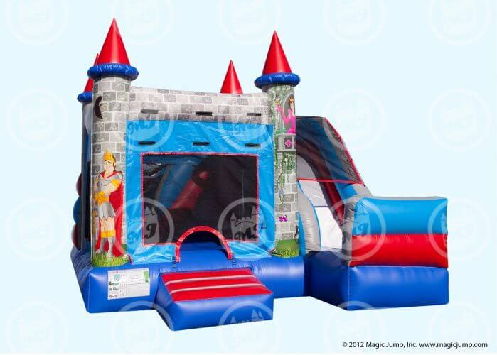 Medieval Combo with inflatable slide and castle entrance