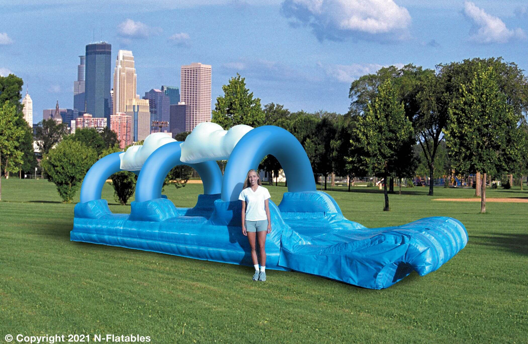 Surf and Slip single lane blue arch water ride